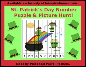 Free Kids Printable Number Puzzle for St. Patrick's Day from Preschool Powol Packets and B-InspiredMama.com