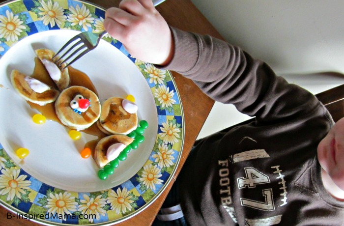 Kids love Bunny Pancakes - made using this 5-Minute Easter Bunny Pancakes Recipe!