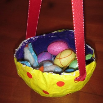 Paper Mache Easter Basket Craft from Crafty Little People and B-InspiredMama.com