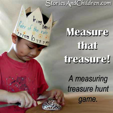 A Treasure Measuring Game from Stories and Children at B-InspiredMama.com