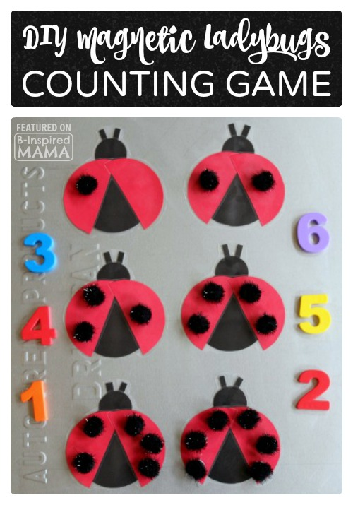 Adorable DIY Magnetic Ladybug Counting Game - with Pom-Pom Spots - at B-Inspired Mama