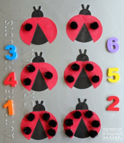 Adorable DIY Magnetic Ladybug Counting Game - with Pom-Pom Spots - for Learning Number Recognition -  at B-Inspired Mama