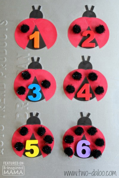 Adorable DIY Magnetic Ladybug Counting Game - with Pom-Pom Spots - for Preschool Learning  -  at B-Inspired Mama