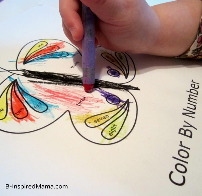 A FREE Color by Number Words Butterfly Coloring Page from Preschool Powol Packets and B-InspiredMama.com