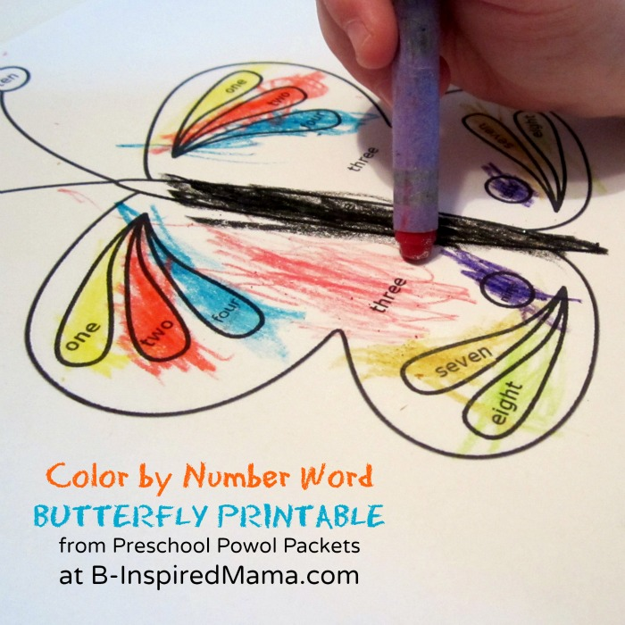 A Color by Number Words Butterfly Coloring Page for Preschoolers from Preschool Powol Packets and B-InspiredMama.com