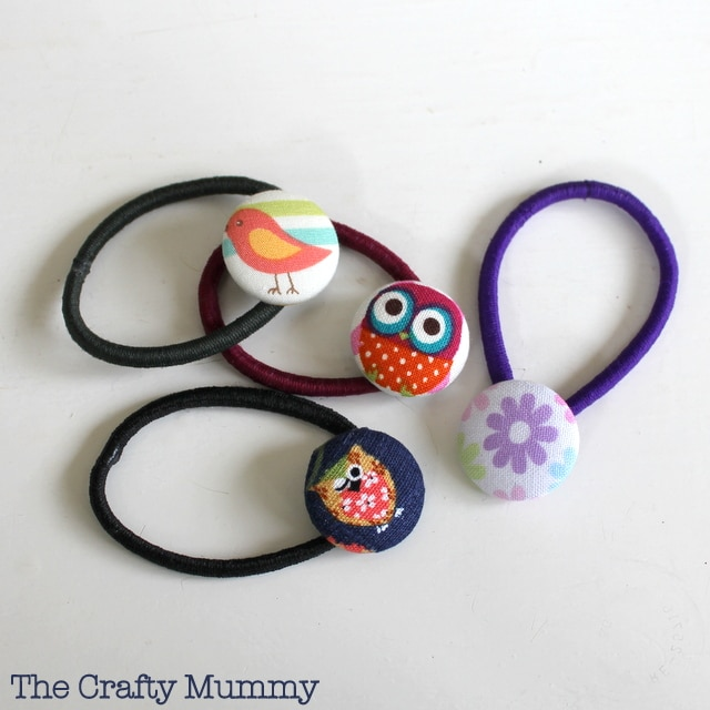 Covered Button Hair Ties Mama Craft from The Crafty Mummy at B-InspiredMama.com