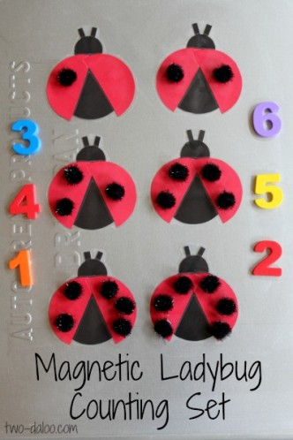 DIY Magnetic Ladybug Counting Game for Preschoolers from Twodaloo at B-InspiredMama.com