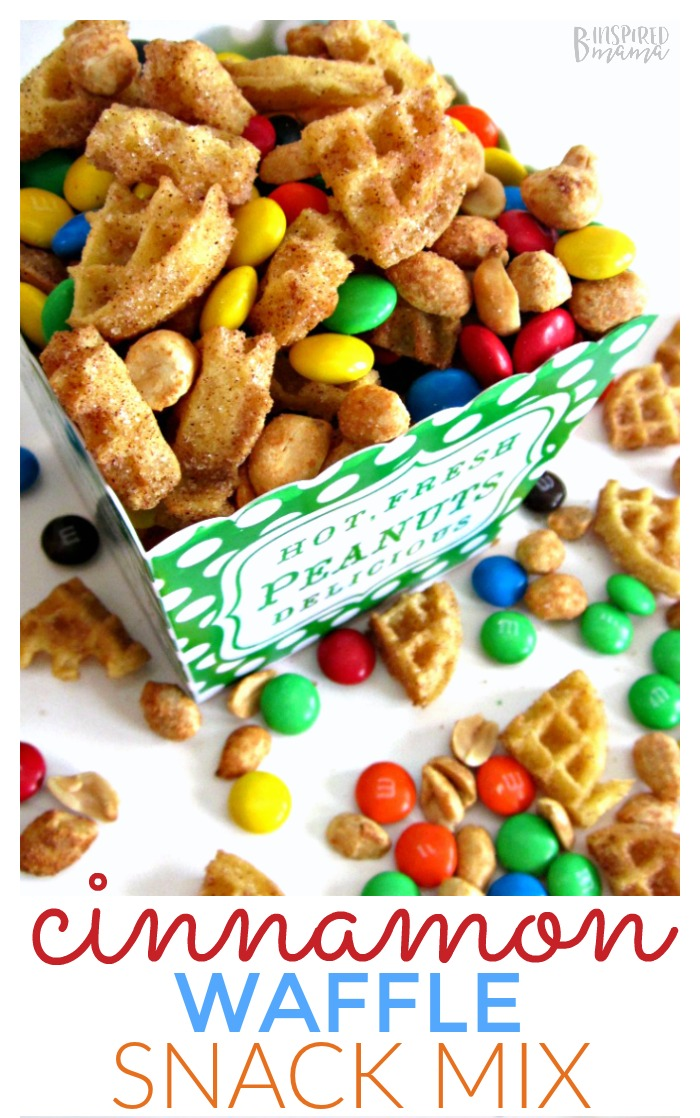 Easy and Yummy Cinnamon Waffle Snack Mix Recipe the Kids will LOVE - from B-Inspired Mama