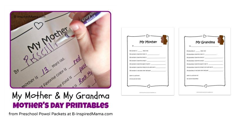 graphic about All About My Grandma Printable named Moms Working day Printables: All Pertaining to My Mother and Grandma