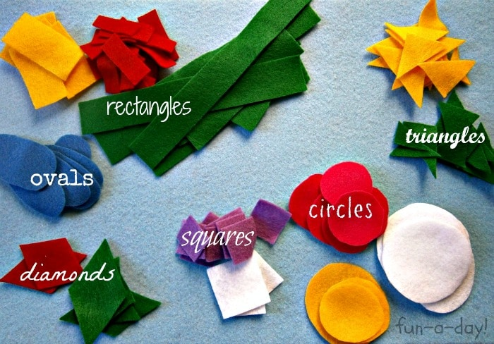 Felt Shapes for Shape Flowers Activity from Fun-A-Day! at B-InspiredMama.com