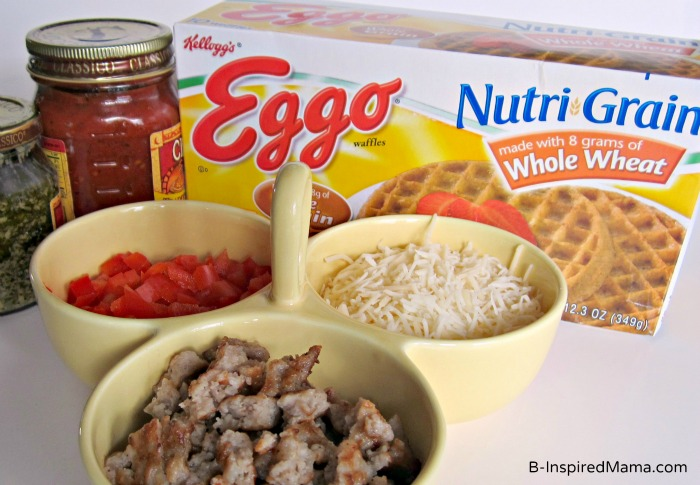 Ingredients for Kids Pizza Making with Eggo Waffles from B-InspiredMama.com