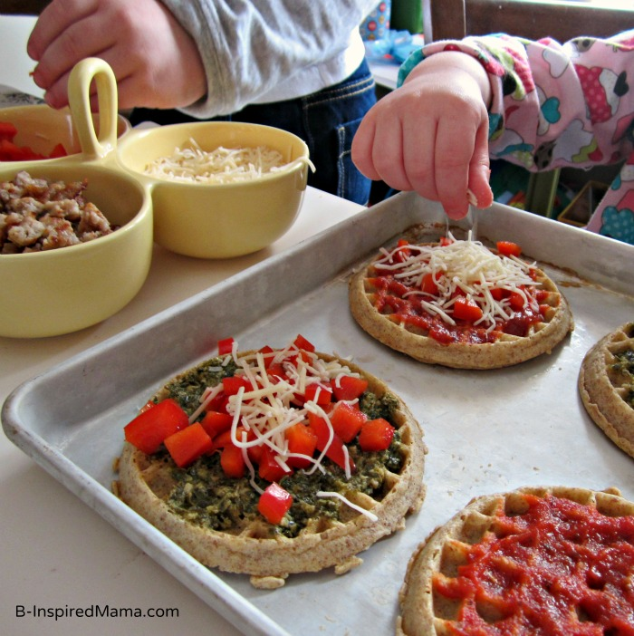 Making Whole Grain Kids Pizza with Eggo Waffles at B-InspiredMama.com