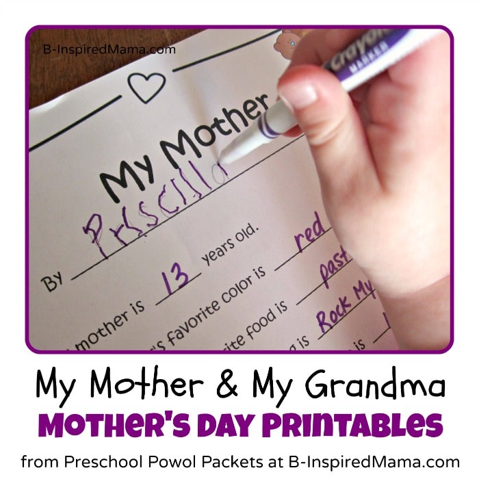 My Mother and My Grandma Mothers Day Printable Interviews at B-InspiredMama.com