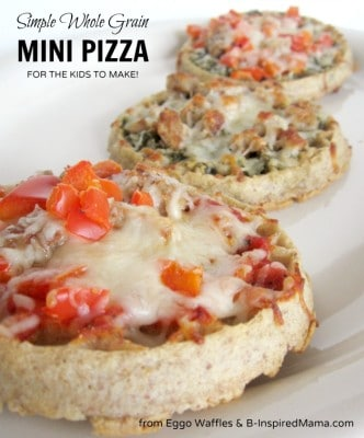 Whole Grain Mini Kids Pizza with Eggo Waffles at B-InspiredMama.com