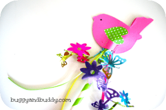 Spring Bird Wand Craft from Buggy and Buddy at B-InspiredMama.com