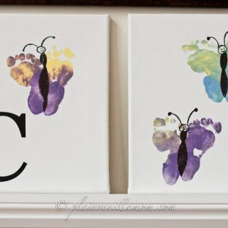 Kids Footprint Butterfly Art from Plain Vanilla Mom at B-InspiredMama.com