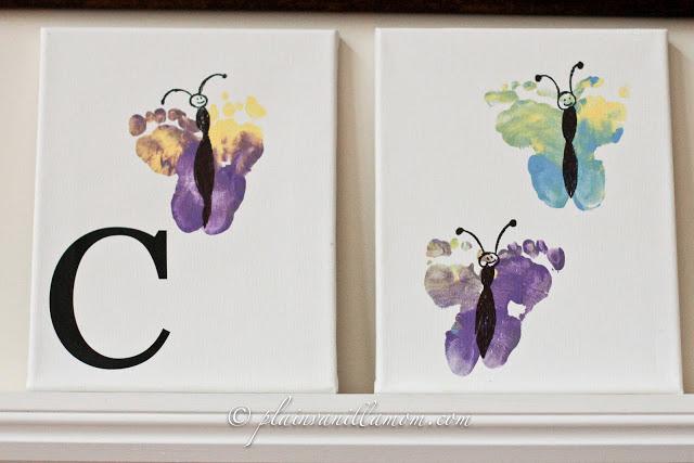 Kids Footprint Butterfly Art from Plain Vanilla Mom at B-InspiredMama.com
