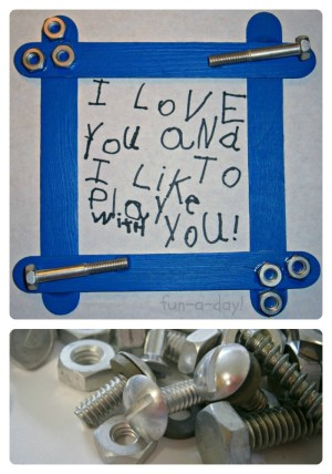 A Nuts & Bolts Frame Fathers Day Craft for Kids from Fun-A-Day! at B-InspiredMama
