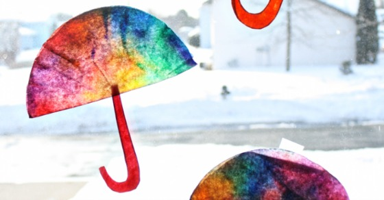 A Colorful Coffee Filter Umbrella Craft From the Mamas