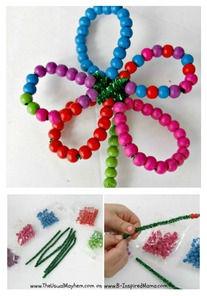 Fine Motor Skill Flower Beading Activity from The Usual Mayhem at B-InspiredMama.com