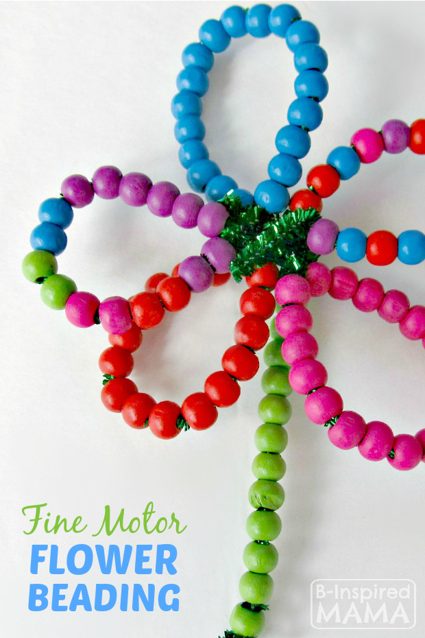 Fine Motor Skill Flower Beading for Kids at B-Inspired Mama