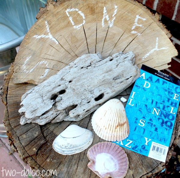 Materials for Beachcomber Letter Learning Name Game from Twodaloo at B-InspiredMama.com
