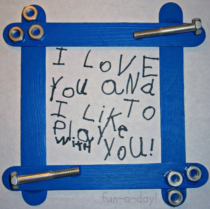 Nuts & Bolts Frame Fathers Day Craft for Kids at B-InspiredMama.com