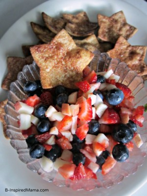Patriotic Fruit Salsa and Star Chips Using I Can't Believe It's Not Butter at B-InspiredMama.com