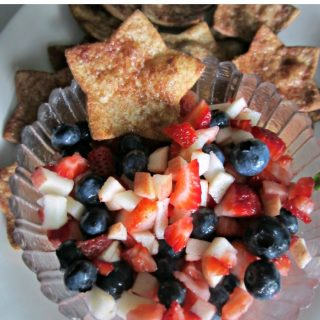 Patriotic Fruit Salsa with Cinnamon Sugar Star Chips at B-Inspired Mama