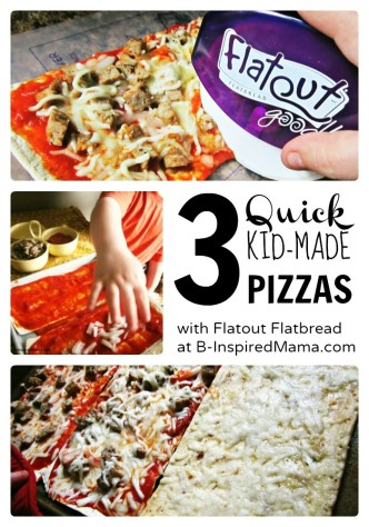Quick Kids Pizza Making with Flatout Flatbread at B-InspiredMama.com