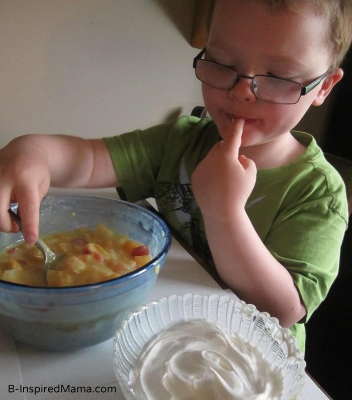 Testing the Summer Fruit Salad Recipe at B-InspiredMama.com