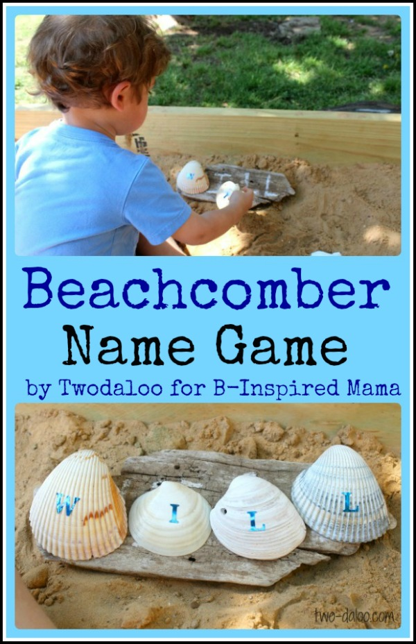 Beachcomber Letter Learning Name Game from Twodaloo at B-InspiredMama.com