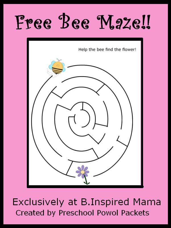 Free Bee Maze Printable from Preschool Powol Packets at B-InspiredMama.com