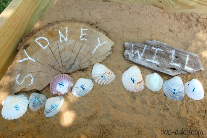 Name Letter Learning with Shells from Twodaloo at B-InspiredMama.com