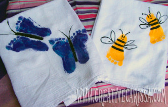 Kids Footprint Towels Craft for Mother's Day from Creative Green Living at B-InspiredMama.comKids Footprint Towels Craft for Mother's Day from Creative Green Living at B-InspiredMama.com