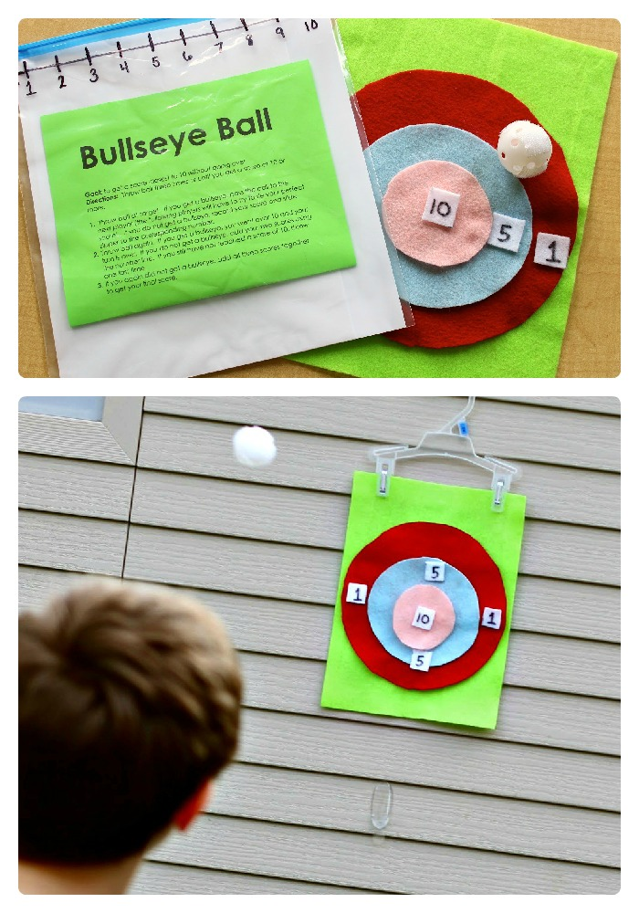 DIY Bullseye Ball Math Game from Finding the Teachable Moments at B-InspiredMama.com