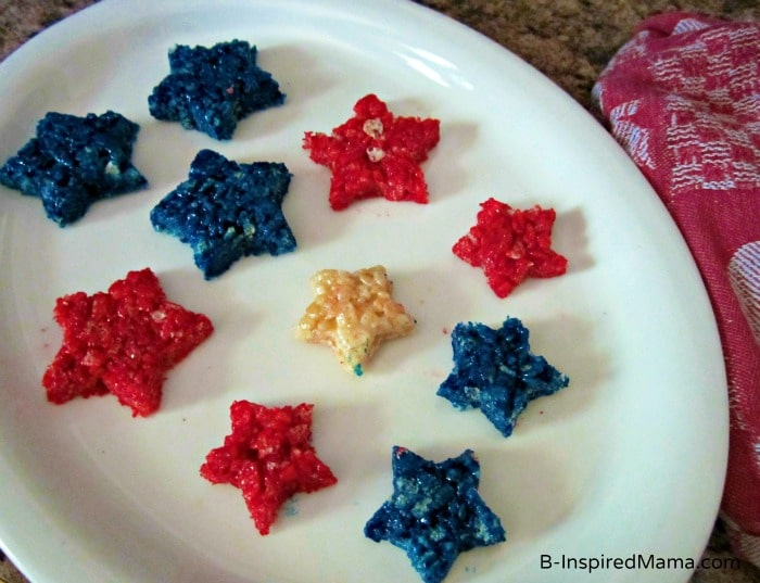 Red White and Blue Patriotic Rice Krispie Treat Stars at B-InspiredMama.com