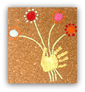 Kids Handprint Art on Cork from Buggy and Buddy at B-InspiredMama.com