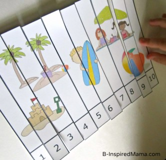 Preschool Beach Theme Number Puzzle from Preschool Powol Packets at B-InspiredMama.com