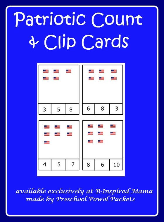 Printable Flag Counting Game Cards from Preschool Powol Packets at B-InspiredMama.com