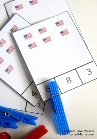 Printable Flag Counting Game from Preschool Powol Packets at B-InspiredMama.com