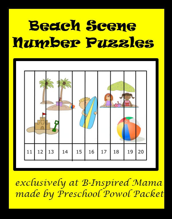 Printbale Preschool Beach Theme Number Puzzle for Kids at B-InspiredMama.com