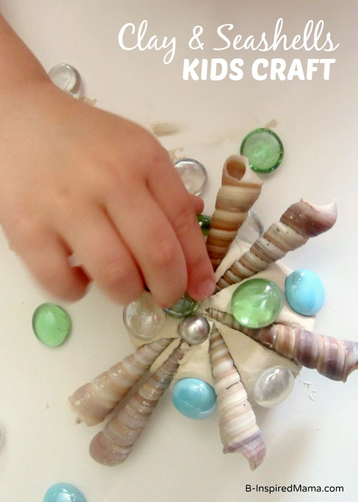 A Clay and Seashells Craft for Kids - Perfect for Summer Memories at B-Inspired Mama