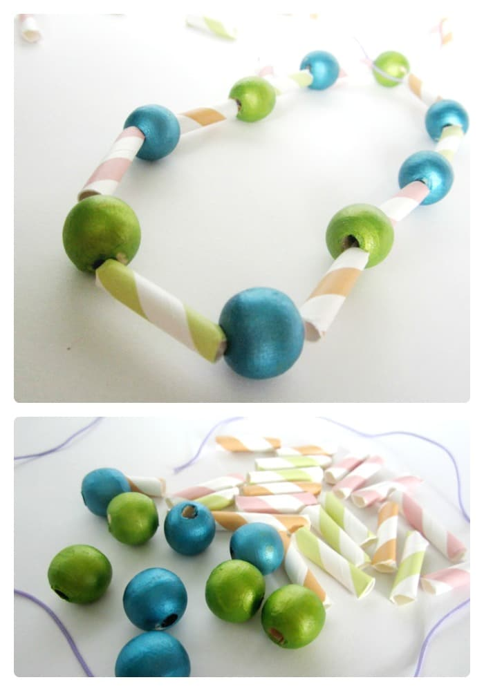 A Kids Necklace Craft by B-Inspired Mama at Creative Green Living