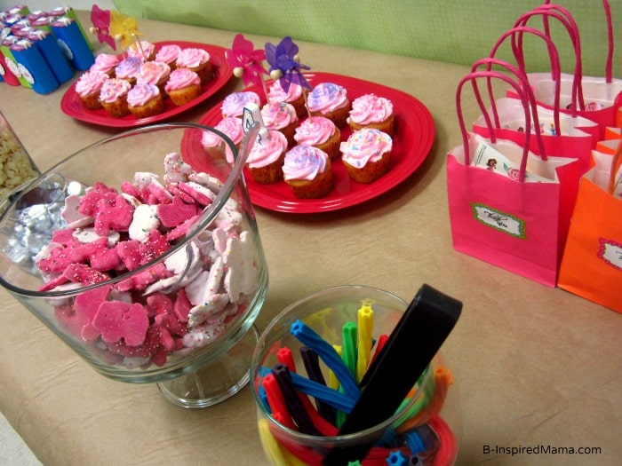 Colorful Candy and Snack Bar at Priscilla's Happy Birthday Princess Party at B-InspiredMama.com
