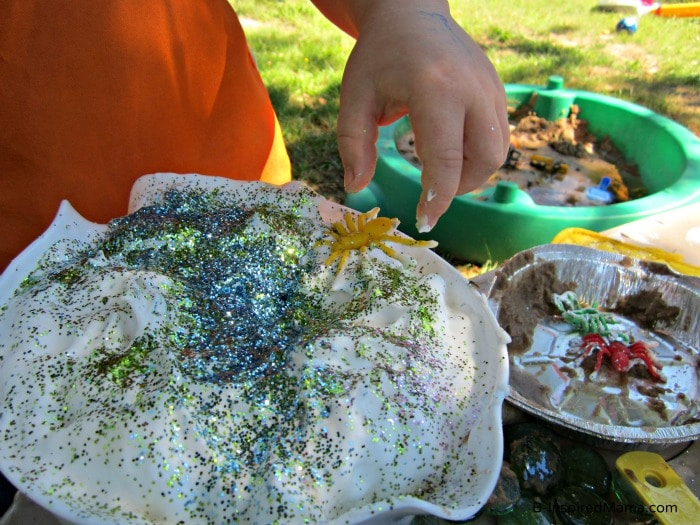 Glitter and Bugs for a Kids Mud Pie at a Messy Playdate at B-InspiredMama.com