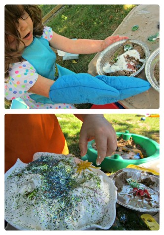 Kids Mud Pie Making Fun at a Messy Playdate at B-InspiredMama.com