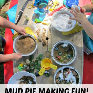 Kids Mud Pie Making Messy Playdate at B-Inspired Mama