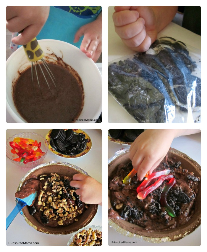 Making a Kids Mud Pie Recipe at B-InspiredMama.com