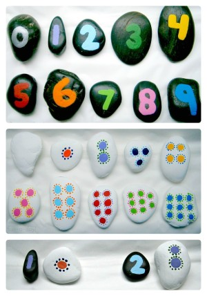 Math Fun with DIY Number Rocks from Fun-A-Day! at B-InspiredMama.com